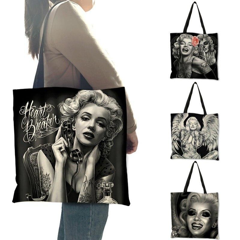 2018 estilo popular feminino bolsa de ombro monroe crânio tatuagem eco linho bolsa senhora menina casual compras multi-função sacos
