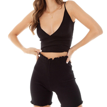 two piece High Waisted Shorts Suits Women Sleeveless Knit Deep V Vest Short Pants Sets Solid Single Ribbed Knit Cami Crop Top solid knit cardigan with cami top