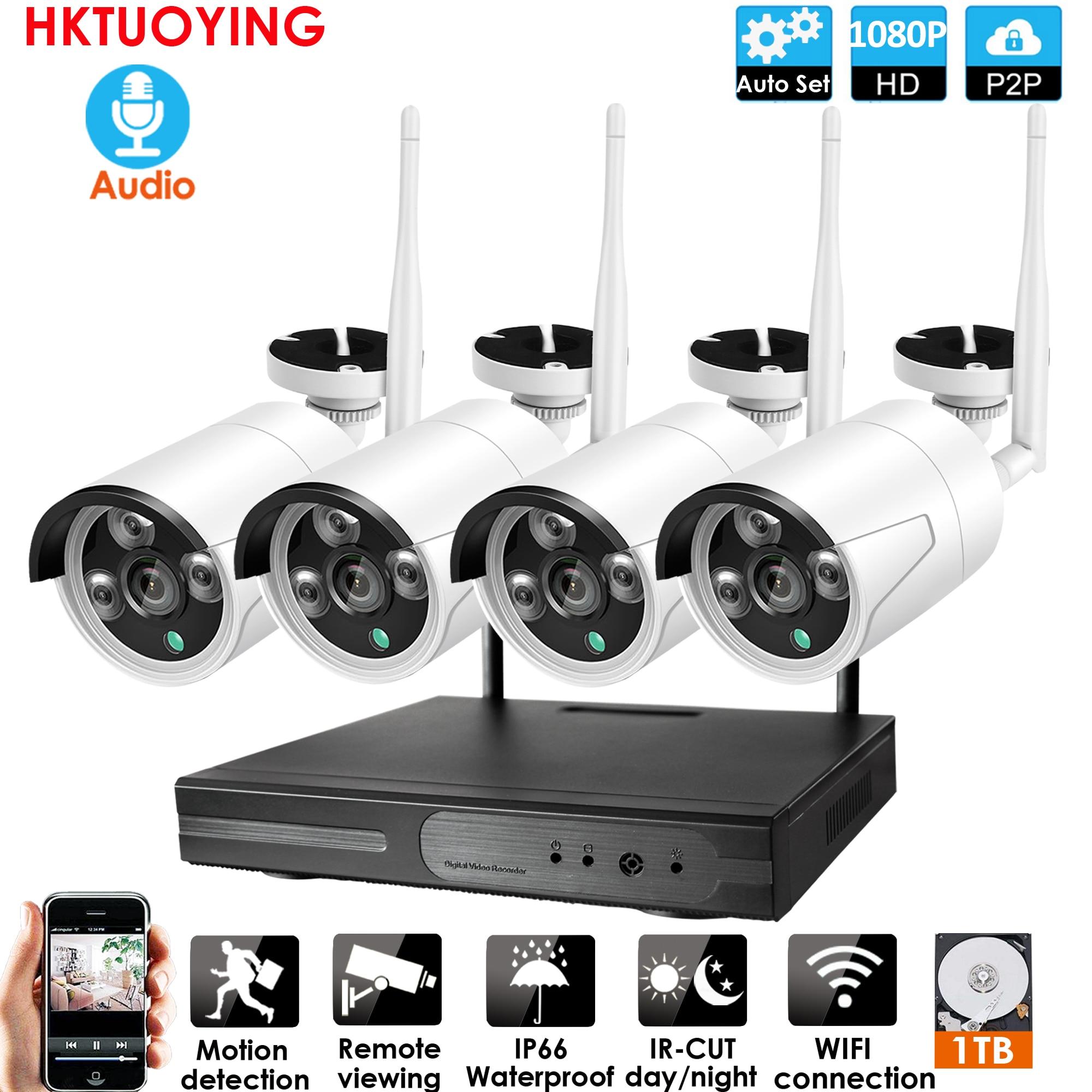 4ch 1080P Audio sans fil NVR Kit P2P 1080P intérieur extérieur IR Vision nocturne sécurité 2.0MP Audio IP caméra WIFI système de vidéosurveillance