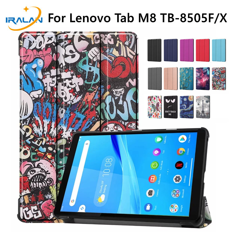 Case For Lenovo Tab M8 2019 PU Leather Folding Stand Cover For Lenovo Tab M8 TB-8505F TB-8505X 8.0 Inch Tablet Case+Glass Film