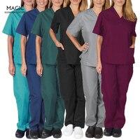 Hohe Qualität Einfarbig Pflege Scrubs Frauen Uniformen Elastizität Pet Klinik Krankenschwester V-ausschnitt Medizinische Arzt Arbeit Kleidung Großhandel