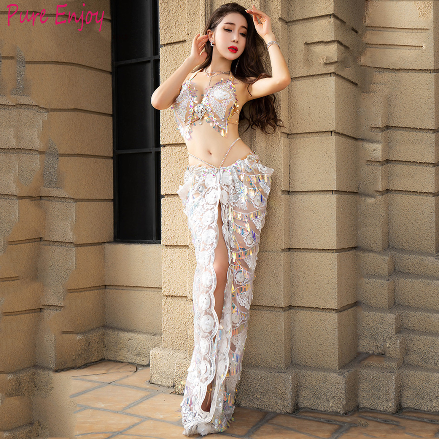 Belly Dance Performance Outfit Women 2020 New Sexy Bra+Long Skirt 2pcs Set Oriental Dance Competition Dance Clothes