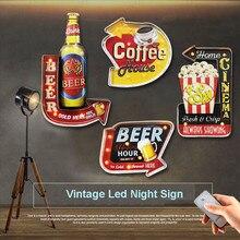 Letreros de luz LED de neón de cerveza fría, letreros de Metal Vintage para Bar, Cine en cafetería, señal de publicidad de palomitas de maíz, Control remoto N386