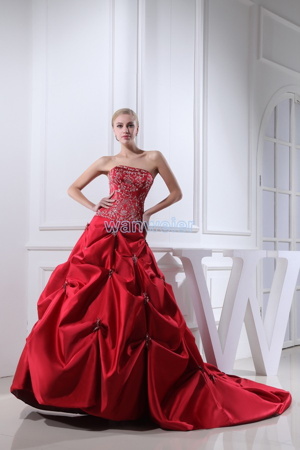 Free Shipping Arrival 2018 Woman Sweetheart Embroidery Custom Size/color Ball Gown Bridal Red New Mother Of The Bride Dress