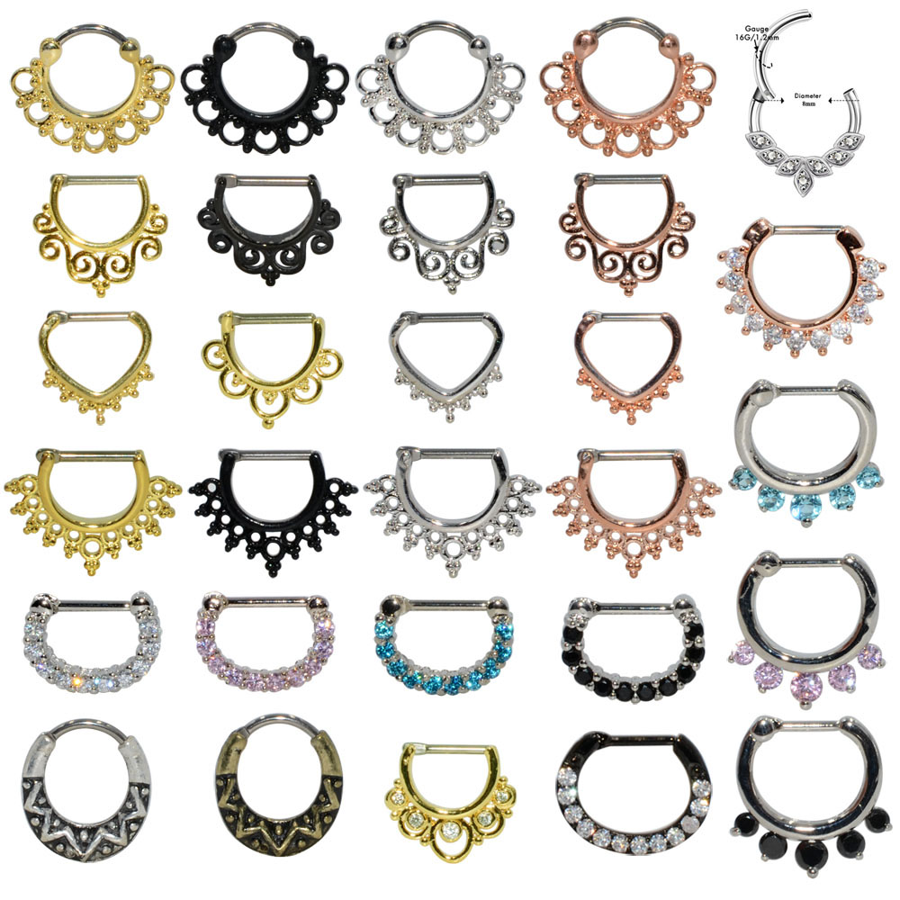 1pcs 16G Surgical Steel Indian Nose Septum Rings Women Crystal Ear Helix Clicker Piercings Earring Septums Hoop Piercing Jewelry