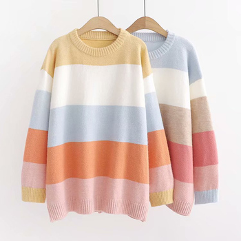 2019, the fall new fashion loose collar pullover color wide stripe knit sweater warm sweater color block mixed knit pullover sweater