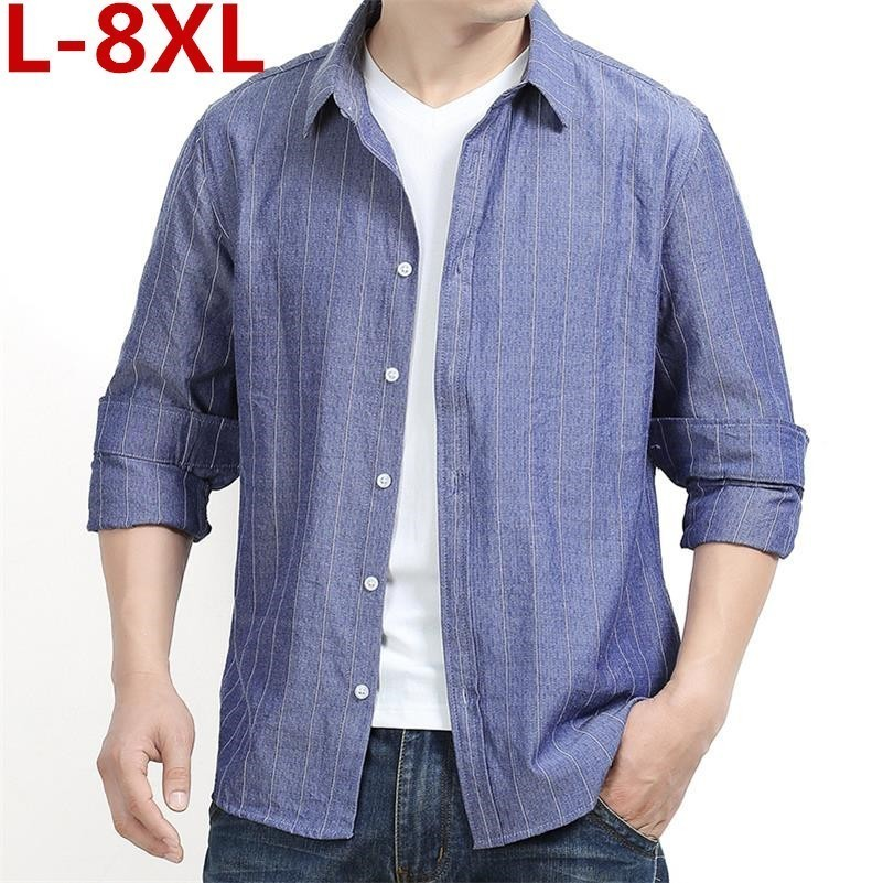 High Quality Plus Size 8xl 7xl 6xl 2020 New Mens Youth Work Shirts Brand Long Sleeve Striped Men Dress Shirts Male Shirts