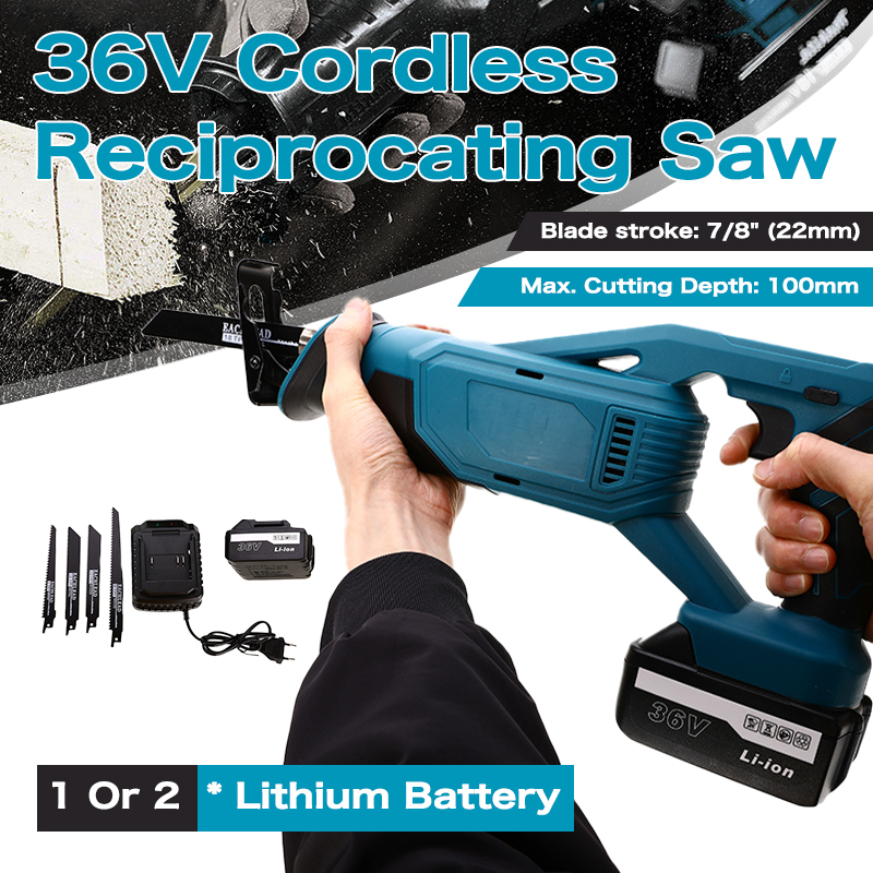 Electric Cordless Reciprocating Saw 36V Electric Saw Woodworking Metal Saw Power Tools With 4 Saw Blades