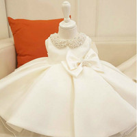 Baby Girl Clothes Beads Bow Tulle Newborn Baptism Dress Baby Girls Party Princess Christening Dresses 1 Year Birthday Outfits