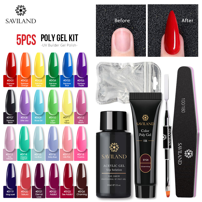 Saviland Color Poly Gel Glittery Extend UV Quick Building Gel Varnish Nail Finger Extension Nail Art Kits 5pcs Poly gel Set 1