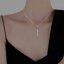 Moda nova jóias 925 prata esterlina aaa zircon forma tira pingente colares uma palavra colar de diamante para o casamento feminino