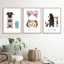 Cute Dog Cartoon Wall Art Canvas Painting Animal Nordic Poster Pink Balloon Nursery Prints Pictures For Kids Room Decor