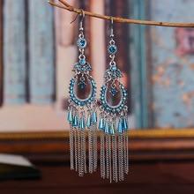 Ethnic Vintage Drop Earrings 2020 Women Bohemia Antique Silver Color Water Shape Crystal Bead Long Chains Tassel
