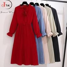 2020 Solid Color Long Women Dress Vintage Elegant Bow Collar Shirt Dress Ladies Long Sleeve Autumn Winter Casual Dresses