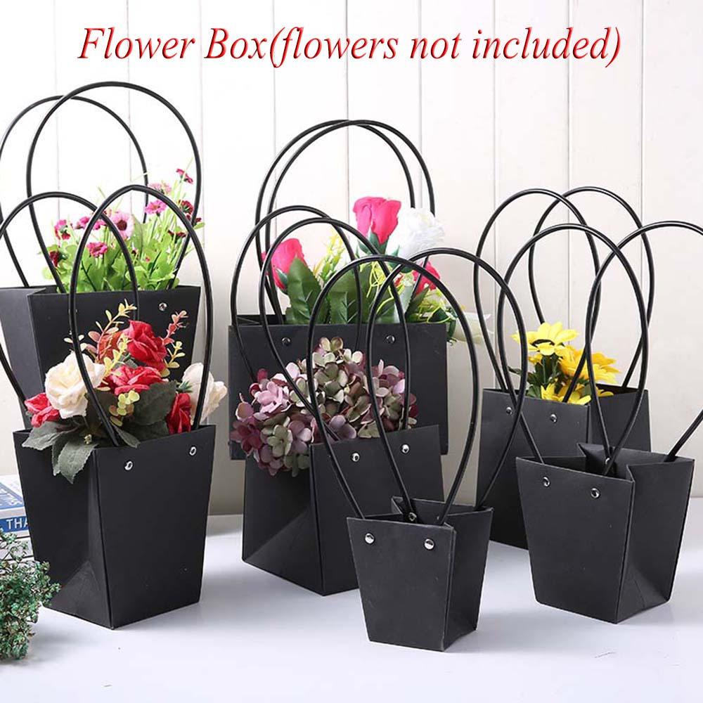 New Paper Bags Flower Box With Handle Waterproof Bouquet Florist Gift Packing Box Valentine's Day Rose Boxes Party Decoration