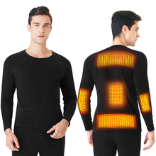Winter Heated Underwear Outdoor USB Battery Powered Electric Thermal Clothes Long Pant Electric Suit Phone Control Temperature
