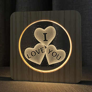 3D Wooden LOVE YOU Footprints Shadow LED Lamp Wood USB Desk Night Light Christianity Crucifix Crafts Table Gift Home Decoration - DISCOUNT ITEM  16 OFF Lights & Lighting