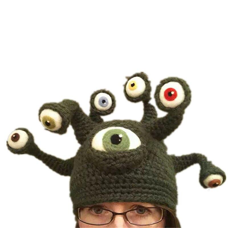 2020 oeil poulpe Halloween chapeaux personnalité tricoté chapeau casquettes unisexe garder au chaud exagération automne hiver adulte fête drôle casquette