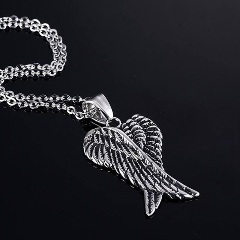Men Necklaces Stainless Steel Gothic Vintage Double Angel Wings Pendant  Collier Kolye Mens Fashion Biker Jewelry CX54|Pendant Necklaces| -  AliExpress
