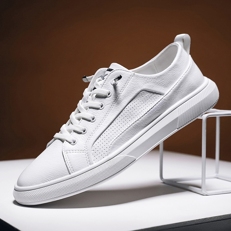 Leather Shoes Men Sneakers Fashion Breathable Casual Men Shoes Trend Wild Casual Tide Flats Simple White Sneakers