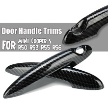 Gloss Black Carbon Fiber Car Door Handle Cover For BMW MINI Cooper S R50 R52 R53 R55 R56 R57 R58 R59 R61 Car Handle Cover