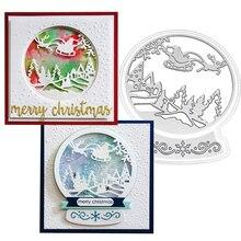 Санта снежный глобус Рождественские металлические режущие штампы для рукоделия штампы Скрапбукинг тиснение высечки зимний сценический Декор