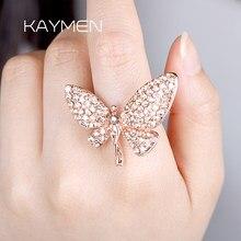 Kaymen menina bonito rosa-banhado a ouro anéis de fadas, anel de casamento, anel de promessa, cz completo ajustável anel de indicação para mulher 00240