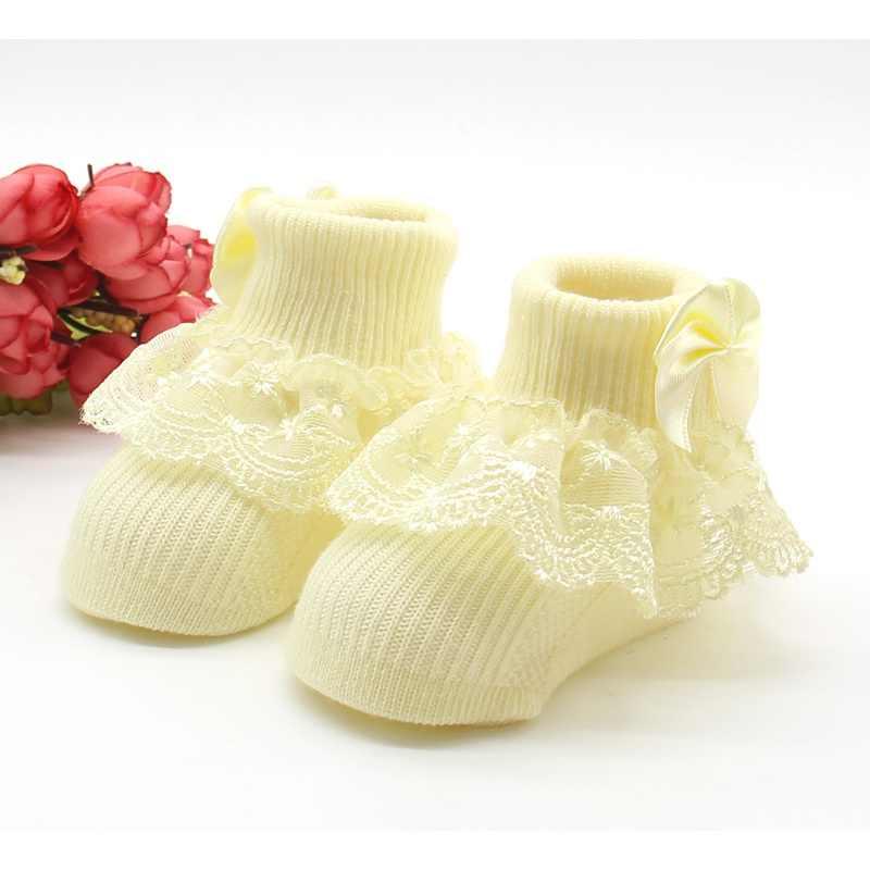 Słodka oddychająca bawełniana koronka, falbany z siatką w stylu księżniczki skarpetki dziecięce kostki krótka skarpeta białe różowe dziewczynek dzieci maluch