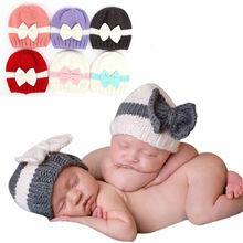 Baby Hats Knitted Cap Newborn Baby Girl Boy Infant Toddler Knitting Wool Crochet Hat Soft Hat Cap Newborn Photography Props(China)
