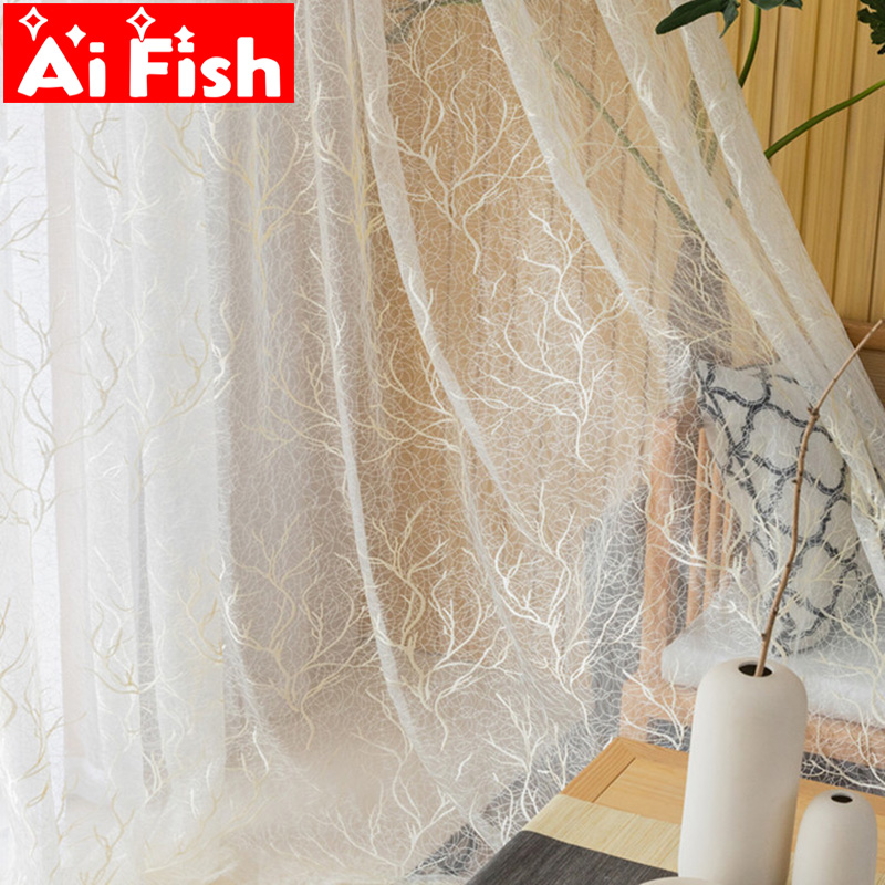 New Design Chaotic Tree Pattern Window Treatments Tulle For Living Room Beige Embroidered Gauze Fabric For Bedroom Panels M156&5