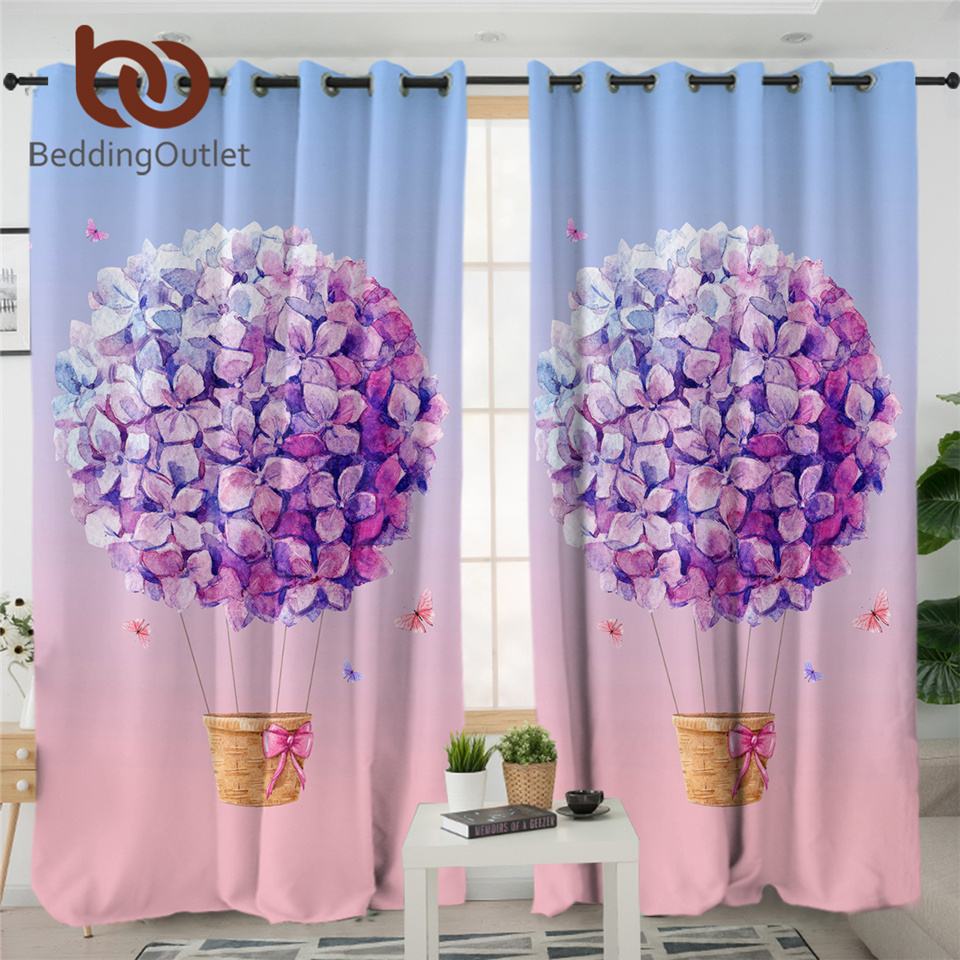 BeddingOutlet Watercolor Pink Curtains Blackout Flower Balloon Purple Curtains For Bedroom Lilac Ball Butterfly Window Curtain 1