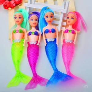 Figura de acción de 7 pulgadas, 20cm, pez marino, sirena, Princesa, modelo de muñeca, rosa, azul, verde, LED