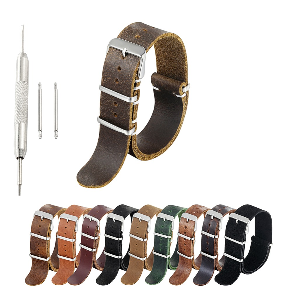 ZULU Leather Watch Band Nato Watch Strap High Quality Brown Coffee Watchband Strap Wistband Pulseira 18mm 20mm 22mm 24mm