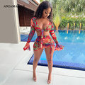 ANJAMANOR тропический Цветочный принт из прозрачной сетки подходящая юбка набор сексуальный пляжный одежда для клуба из двух частей комплект Д...