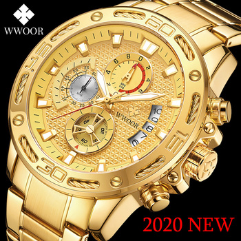 WWOOR 2020 Gold Mens Watches Top Brand Luxury Sports Quartz Big Dial Wrist Watch Male Waterproof Chronograph Relogio Masculino relogio masculino wwoor luxury mens analog quartz business gold wrist watch men full steel waterproof sports watches male clocks