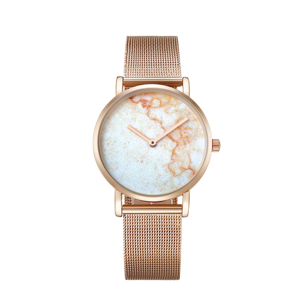 drop shipping rose gold ultra thin case watches womens wristwatches quartz watch for men imitate marble pattern dial rose gold stainless steel elogio feminino montre femme free ship (60)