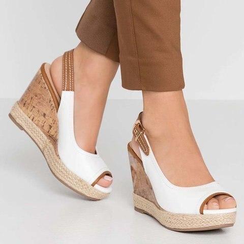 Women Sandals Wedges Ankle-Strap Summer Shoes Peep-Toe Fashion Classics Super-High
