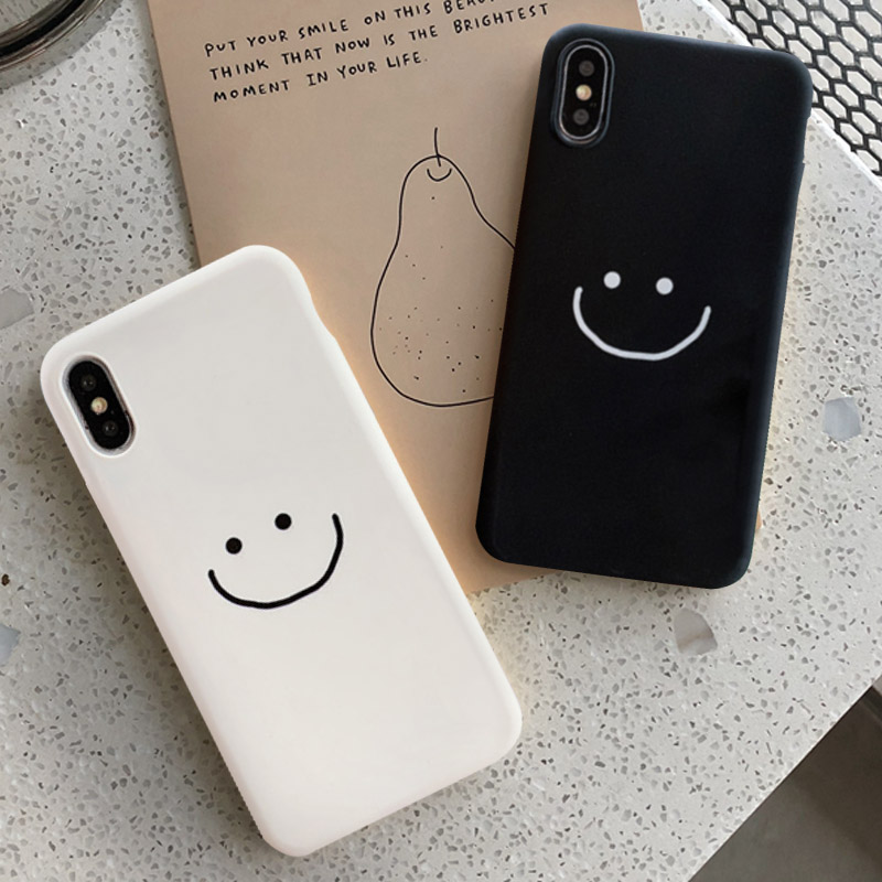 GYKZ Fashion Simple Smile Face Couple <font><b>Case</b></font> For <font><b>iphone</b></font> 11 Pro XS MAX XR X 7 6 6s <font><b>8</b></font> Plus Black White <font><b>Silicone</b></font> Phone Cover Soft Bag image