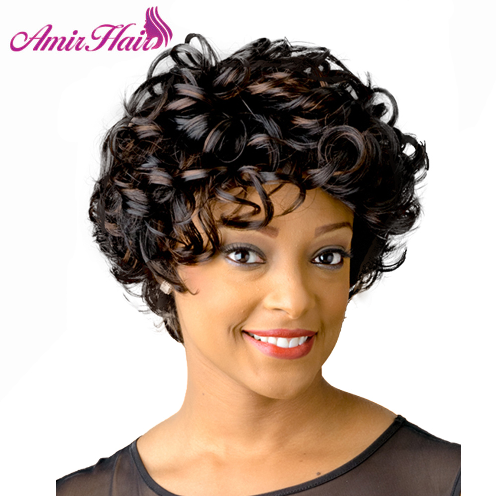 Amir Kinky Curly Wigs For Women Short Wig  Black Curly Hair Mixed Brown Afro Wig Synthetic Fiber Hair Cosplay Wig