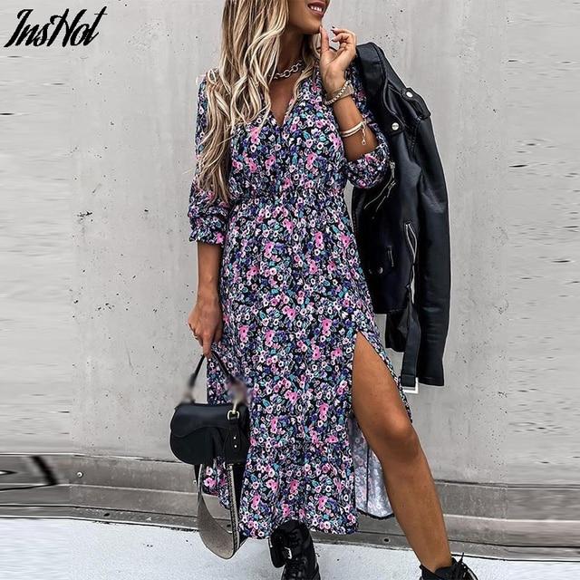 Autumn Office Lady Button Print Shirt Dresses 2021 Fashion Casual Long Sleeve Party Dress Women Lace-Up Belt Long Dress Vestidos 1
