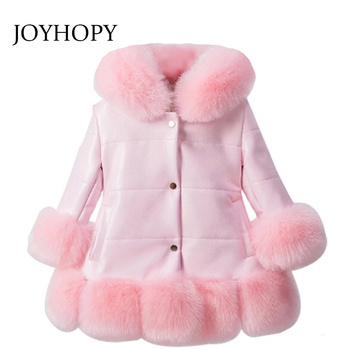 jacket for girl PU Leather Patchwork Fox Faux Fur Collar Jacket Coat Princess Winter Thicken Outerwear children For 2-12 Years