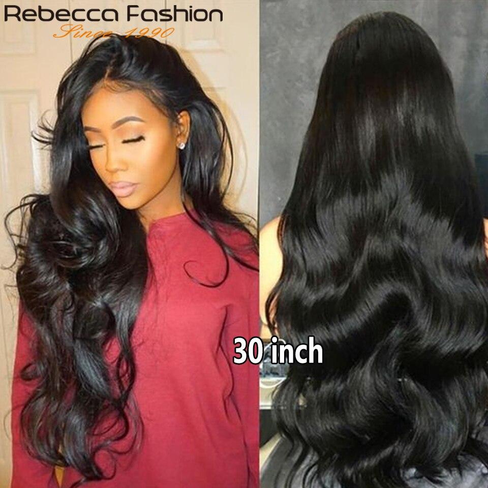 Onda do corpo de rebecca hd perucas frontais do laço para as mulheres 180 densidade brasileiro 360 peruca completa do laço remy cabelo transparente fechamento do laço perucas