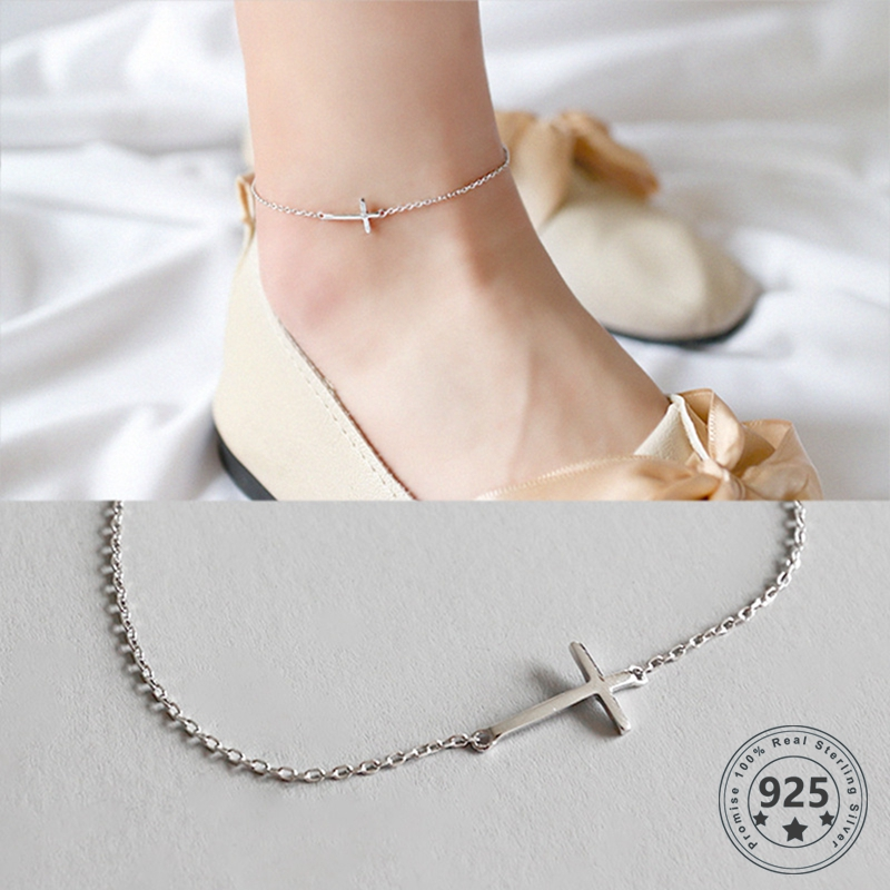Louleur 925 Sterling Silver Cross Chain Anklets Romantic Adjustable Beach Fine Anklets for Women Fashion Summer Jewelry Gifts