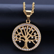 Hip Hop Life Of Tree Stainless Steel Rhinestone Pendeloque Cut Rap Hip-hop Lovers Necklace Women Gold Party Gift Jewelry Choker(China)