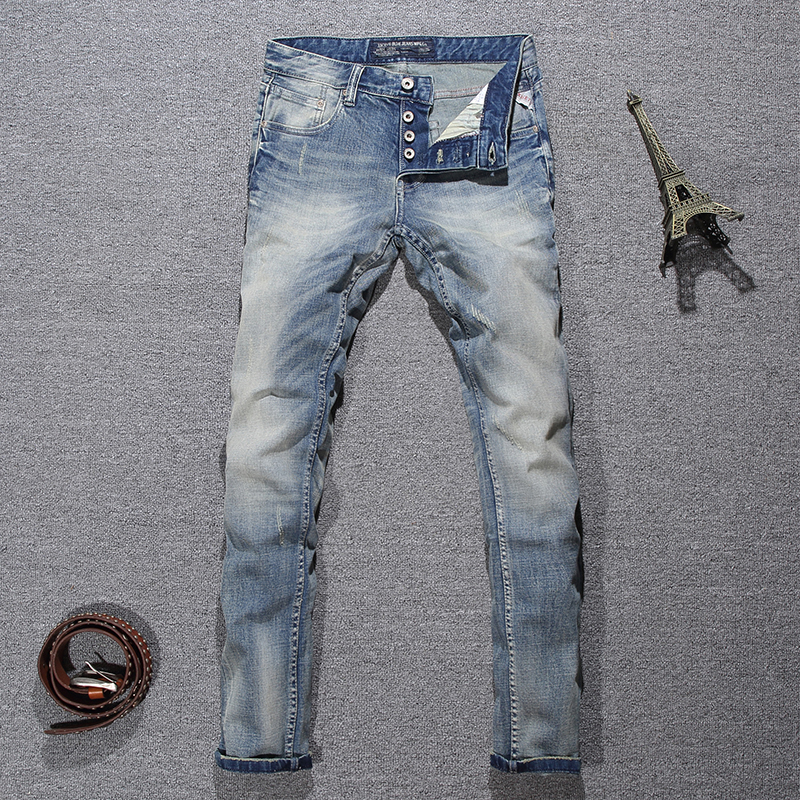 Italian Style Fashion Men Jeans Light Blue White Wash Ripped Jeans Men Buttons Pants Slim Fit Elastic Classical Designer Jeans