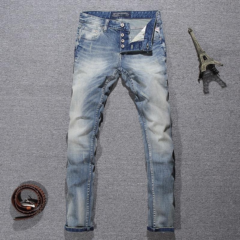 Italian Style Fashion Men Jeans Light Blue White Wash Ripped Jeans Men Buttons Pants Slim Fit Elastic Classical Designer Jeans
