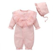 Осенне-зимний комбинезон для малышей, цельнокроеное Хлопковое платье с вышивкой и кружевным бантом, платье для дня «полнолуние», 100 г. Для детей от 0 до 1 лет