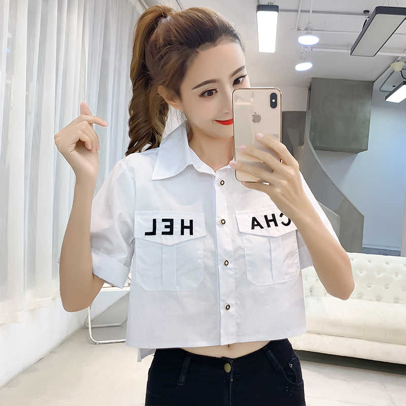 2020 Nieuwe Pocket Vrouwen Tops Shirts Korte Losse Koreaanse Camis Single Breasted Korte Mouw Mode Brief Casual Shirt