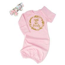Милое Хлопковое одеяло для маленьких девочек, спальный мешок для пеленания+ повязка на голову, милый мягкий спальный мешок для новорожденных 0-24 месяцев
