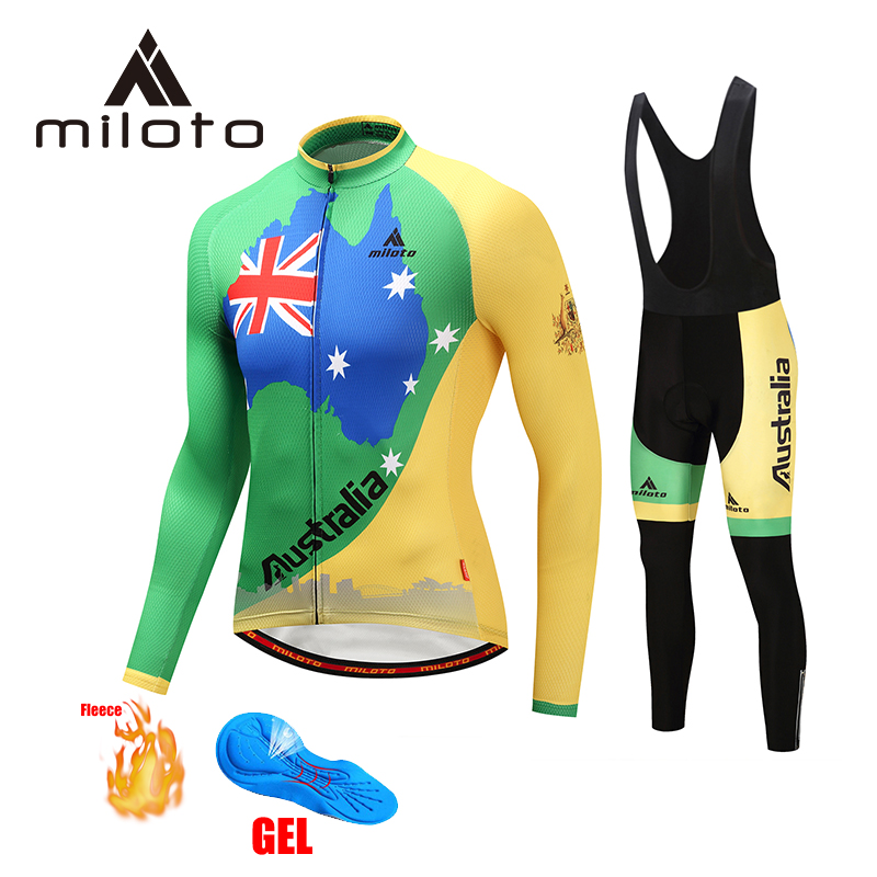 MILOTO winter cycling clothing long thermal fleece cycling suits 2019 men bike warm pants maillot mtb hombre cycling wear|Cycling Sets| |  - title=